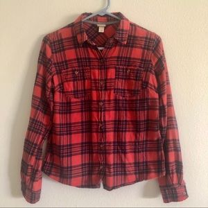 Xhilaration red and navy flannel button down shirt